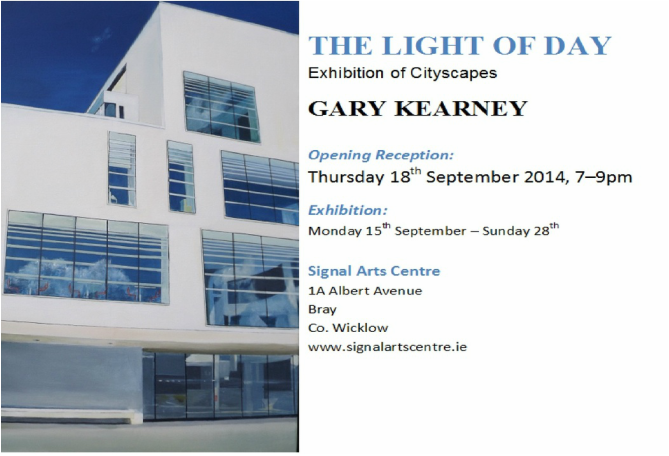 Acrylic painting, Irish Painter, Irish artist, Gary Kearney, Art Gallery, Cork City, White, Cobalt Blue, Red Chairs, Seats, Glass Reflections, Architecture, Light of Day, Signal Arts Centre,