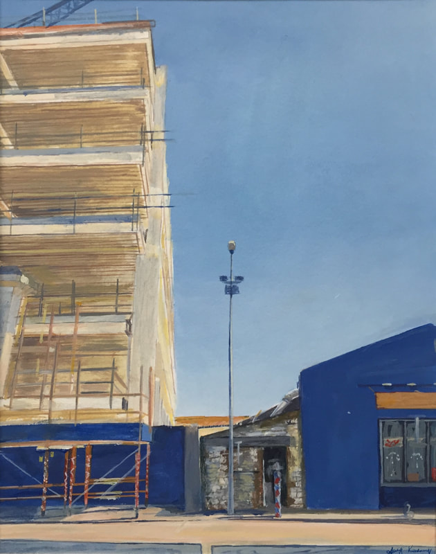 Acrylic painting, Irish Painter, Irish cityscape art, Gary Kearney, Art Gallery, Cork City, OPW, Cork Docklands, , Construction,