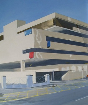 Acrylic painting, Photorealism, Irish Painter, Irish artist, Gary Kearney, Art Gallery, Cork City, White,Multi-Storey, Car Park, Parking Signs, Poles Apart, Sold, The Elysian, Cork City, Online Art,