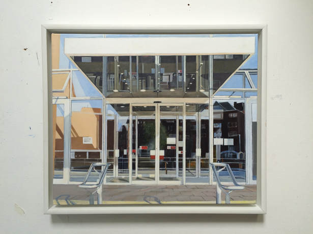 Acrylic painting, Photorealism, Irish Painter, Irish artist, Gary Kearney, Art Gallery, Cork City, White, Glass Reflection, Open Windows, Sold,