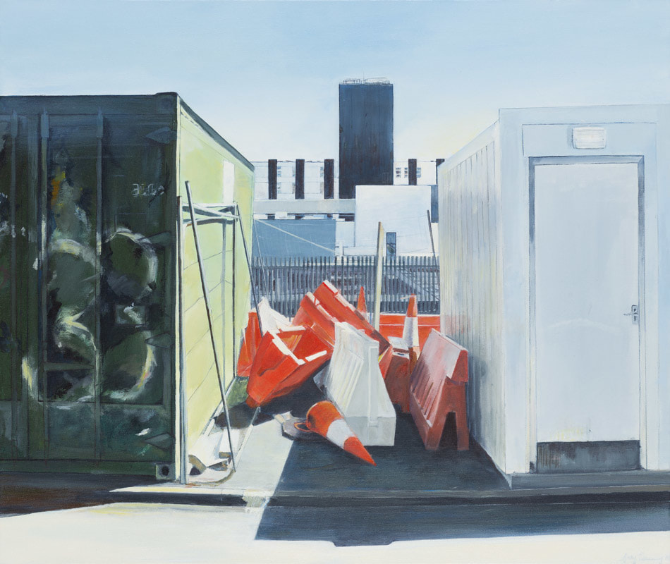 Acrylic painting, Irish Painter, Irish artist, Cork University Hospital, CUH, Gary Kearney, Art Gallery, Cork City, Acrylic on canvas, Work of Art, White, Containers, Traffic Cones, 33, Roadworks,