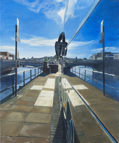 Landscape painting, Irish Painter, Irish artist, Gary Kearney, Art Gallery, Cork City, White, Cobalt Blue, Bus Window, Tyre, Glass Reflection, Quay, River Lee, Mirror Image, Realism,