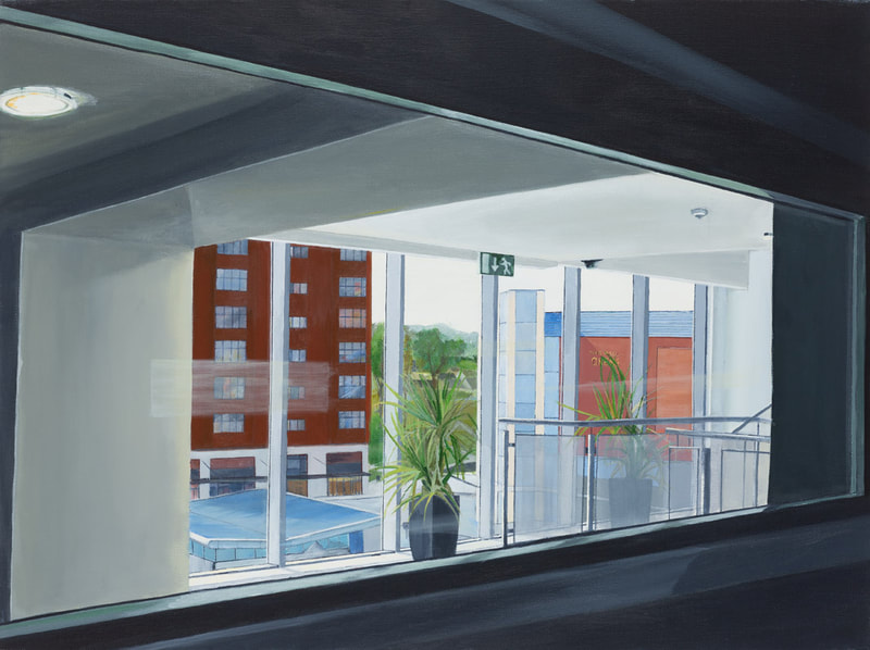 Acrylic painting, Irish Painter, Irish artist, Dark Palette, Gary Kearney, Art Gallery, Cork City, Flowers, Paynes Grey, Window View, Urban Art, Architecture, Interior View, Railing, Blackpool, Multi-Storey, Car Park, From the inside, 2012,