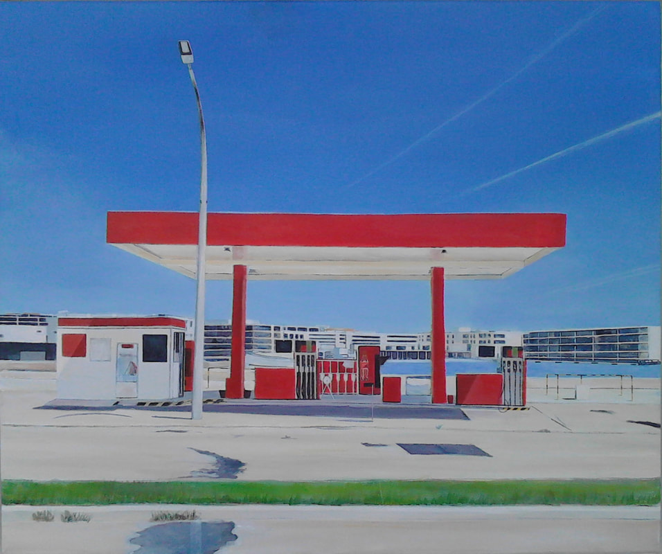 Acrylic painting, Petrol Station, Irish Painter, Irish artist, Gary Kearney, Art Gallery, Cork City, White, Blue Sky, Bright Red, Coca Cola, Buy Art,