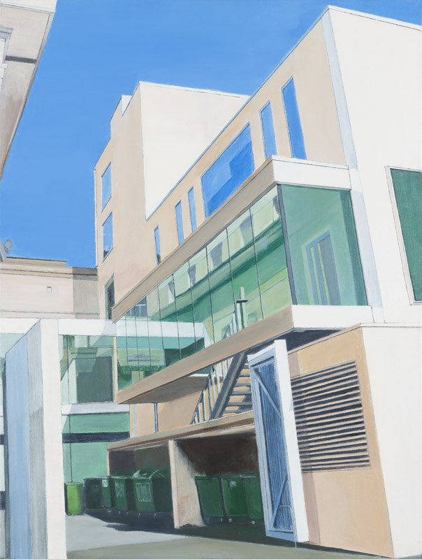 Acrylic on canvas, Irish Painter, Irish art, Gary Kearney, Art Gallery, Buildings Cork City , White, Cobalt Blue, Glass Reflections, Urban Art, Angles, Architecture, Perspective, Dustbins, Gateway,