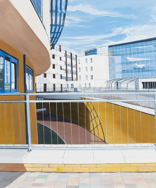Acrylic cityscapes, Irish Painter, Irish art, Gary Kearney, Art Gallery, Cork City, Online Art, Art Sale, Yellow, Glass Reflections, Urban Art, Architecture, Cork University Hospital, CUH, Light Blue, Dark to Light,