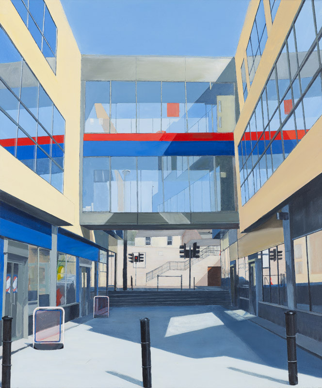 Acrylic on canvas, Photorealist painting, Irish Painter, Irish art, Gary Kearney, Art Gallery, Cork City, White, Cobalt Blue, Red, Color Theory, Glass Reflections, Urban Art, Architecture, Railing, Blackpool Library, Perspective, European Art, Signposts,  Poles,