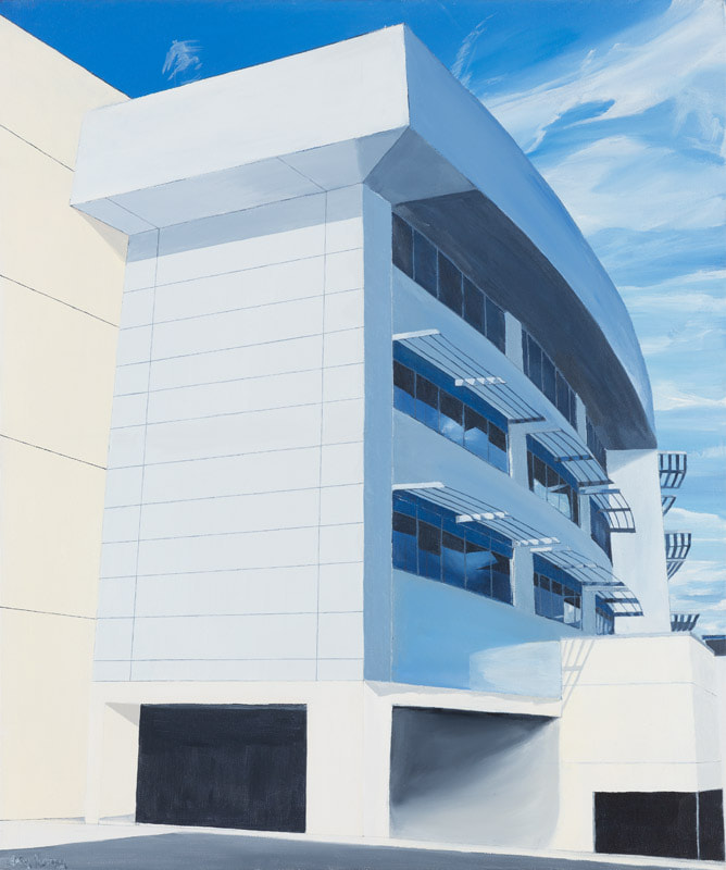 Acrylic painting, Irish Painting, Wilton, Irish art, Gary Kearney, Art Gallery, Cork City, White, Cobalt Blue, Glass Reflections, Urban Art, Architecture, Pole, Cork University Hospital, CUH, Sunlight, HalfLight, Bright Canvas, Perspective,