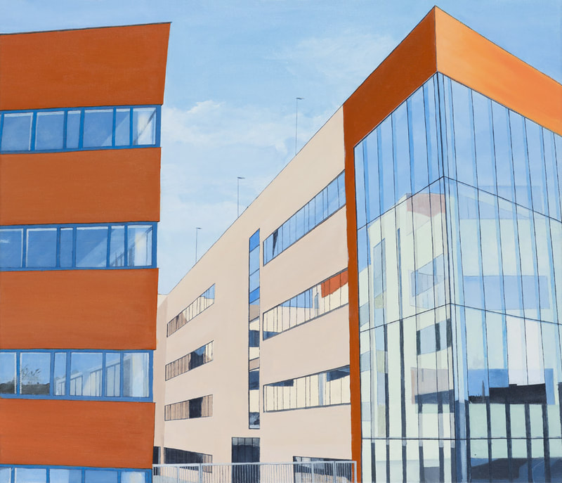 Acrylic painting, Irish Painter, Irish artist, Gary Kearney, Art Gallery, Cork City, Brown, Cobalt Blue, Glass Reflections, Online Art, Architecture, Pole, Glass Walls, Tax Office Cork,