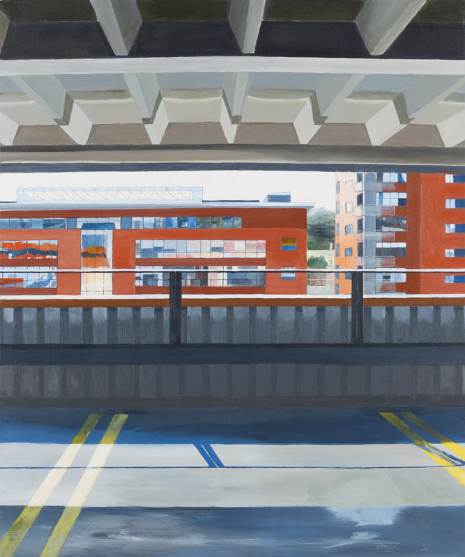 Acrylic painting, Irish Painter, Irish artist, Dark Palette, Gary Kearney, Art Gallery, Cork City, Flowers, Red, Abstracted, Urban Art, Architecture, Interior View, Railing, Blackpool, Multi-Storey, Car Park, View from above, 2013, Yellow Lines, Draftsmanship,