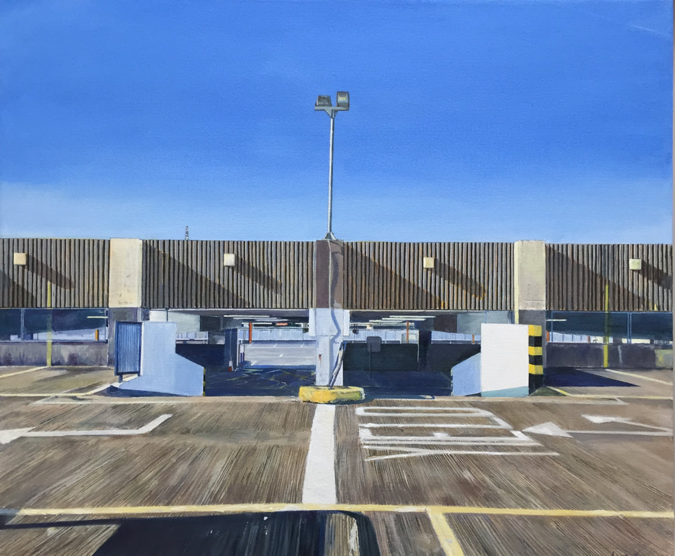 Acrylic painting, Irish Citycape Painter, Irish art, Gary Kearney, Art Gallery, Cork City, White, Car Park, Yield, Blue Sky, Shadows, Multi-Story, Realist Painting, Photorealism, Richard Estes, Edward Hopper,